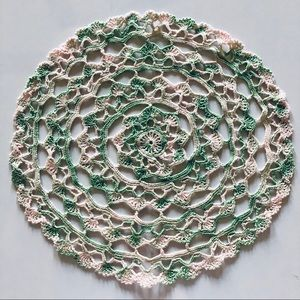 Crocheted Two Tone Lacey Doily